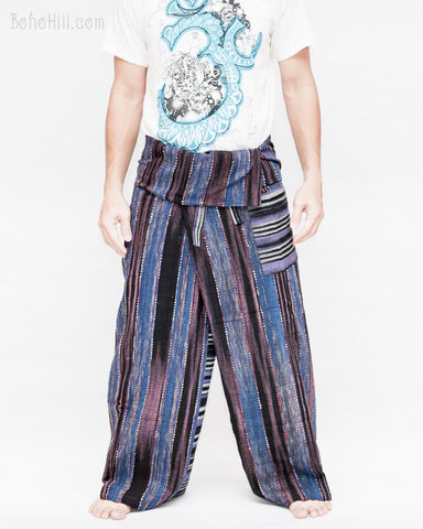 blue purple stripe high quality thai fisherman pants waterfall design wrap around fold over waist loose fit yoga trousers one of a kind handwoven cotton jm5 front