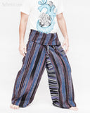 blue purple stripe high quality thai fisherman pants waterfall design wrap around fold over waist loose fit yoga trousers one of a kind handwoven cotton jm5 side