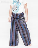 blue purple stripe high quality thai fisherman pants waterfall design wrap around fold over waist loose fit yoga trousers one of a kind handwoven cotton jm5 walk