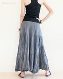 Bohemian Broomstick Tiered Long Skirt Smocked Waist Gypsy Hippie Style Cool Gray back