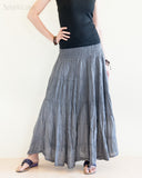 Bohemian Broomstick Tiered Long Skirt Smocked Waist Gypsy Hippie Style Cool Gray front