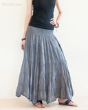 Bohemian Broomstick Tiered Long Skirt Smocked Waist Gypsy Hippie Style Cool Gray side