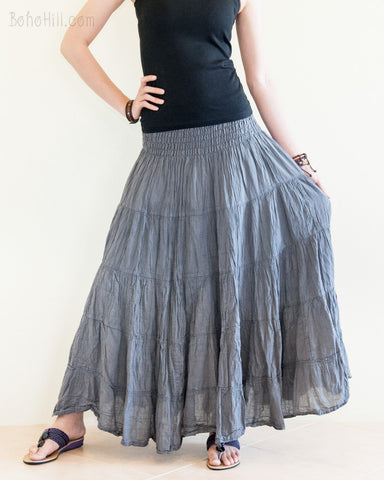 Bohemian Broomstick Tiered Long Skirt Smocked Waist Gypsy Hippie Style Cool Gray spread