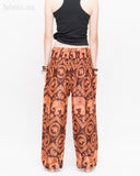 Bohemian Elephants ZigZag Yoga Pants Hippie Harem Trousers (Copper) back