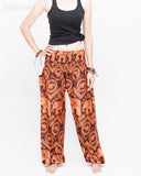 Bohemian Elephants ZigZag Yoga Pants Hippie Harem Trousers (Copper) front2