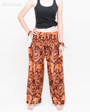 Bohemian Elephants ZigZag Yoga Pants Hippie Harem Trousers (Copper) front