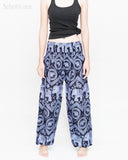 Bohemian Elephants ZigZag Yoga Pants Hippie Harem Trousers (Cool Purple) front