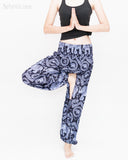 Bohemian Elephants ZigZag Yoga Pants Hippie Harem Trousers (Cool Purple) namaste