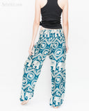 Bohemian Elephants ZigZag Yoga Pants Hippie Harem Trousers (Teal) back