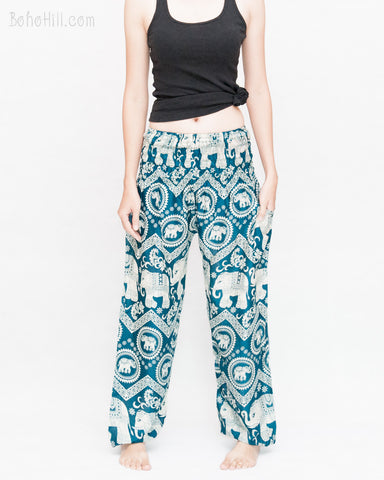 Bohemian Elephants ZigZag Yoga Pants Hippie Harem Trousers (Teal) front