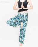 Bohemian Elephants ZigZag Yoga Pants Hippie Harem Trousers (Teal) namaste