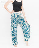 Bohemian Elephants ZigZag Yoga Pants Hippie Harem Trousers (Teal) side