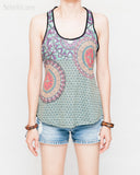 bohemian tank top faded colorful mandalas indian feathers triangle weave patter sexy sporty race back super soft and light front