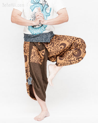 brown cropped samurai hakama trousers aizome indigo wrap around waist tribal sayagata active flexible ninja warrior pants abstract pattern dance