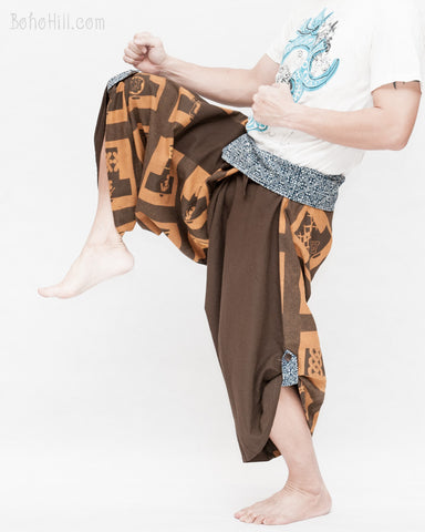 brown cropped samurai hakama trousers aizome indigo wrap around waist tribal sayagata active flexible ninja warrior pants ancient chinese squares kick