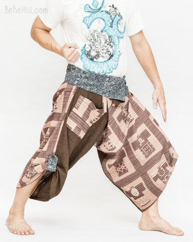 brown flexible martial art wrap pants ancient japanese squares samurai trousers aizome indigo dye tribal sayagata fold over waist size m l wide
