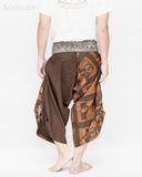 brown samurai pants unique handmade wrap around harem trousers magic ancient chinese squares back
