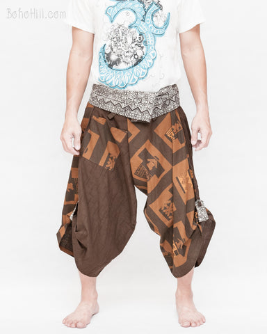 brown samurai pants unique handmade wrap around harem trousers magic ancient chinese squares front