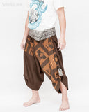 brown samurai pants unique handmade wrap around harem trousers magic ancient chinese squares side
