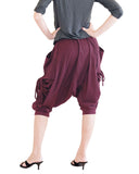 capri street urban drop crotch harem pants with curtain side pull up drawstring elastic waist cuff leg stretch jersey cotton burgundy wine red back