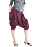 capri street urban drop crotch harem pants with curtain side pull up drawstring elastic waist cuff leg stretch jersey cotton burgundy wine red front