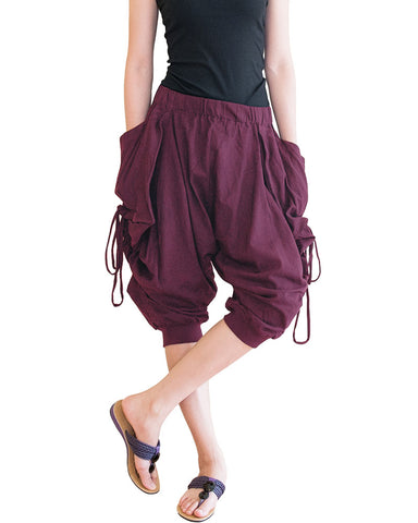 capri street urban drop crotch harem pants with curtain side pull up drawstring elastic waist cuff leg stretch jersey cotton burgundy wine red relax