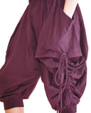capri street urban drop crotch harem pants with curtain side pull up drawstring elastic waist cuff leg stretch jersey cotton burgundy wine red swatch
