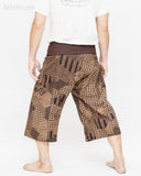 Capri Thai Fisherman Pants Dark Brown Japanese Patch Scotch Honeycomb Sayagata Pattern Summer Wrap Around Trousers Premium Cotton back