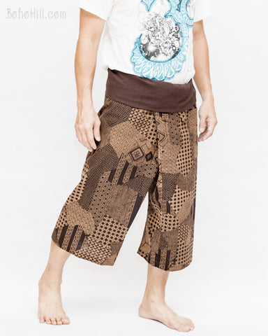 Capri Thai Fisherman Pants Dark Brown Japanese Patch Scotch Honeycomb Sayagata Pattern Summer Wrap Around Trousers Premium Cotton walk