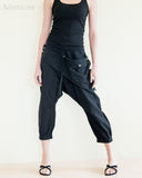 Capri Harem 4/5 Length Drop Crotch Unisex Pants Detachable Pocket Black front