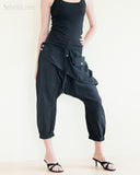 Capri Harem 4/5 Length Drop Crotch Unisex Pants Detachable Pocket Black right