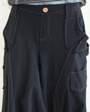 Cargo Capri 4/5 Length Pants Heavy Jersey Knit Cotton Low Crotch Harem Trousers Black closeup