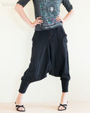 Cargo Capri 4/5 Length Pants Heavy Jersey Knit Cotton Low Crotch Harem Trousers Black front