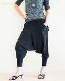 Cargo Capri 4/5 Length Pants Heavy Jersey Knit Cotton Low Crotch Harem Trousers Black left