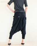 Cargo Capri 4/5 Length Pants Heavy Jersey Knit Cotton Low Crotch Harem Trousers Black rear