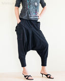 Cargo Capri 4/5 Length Pants Heavy Jersey Knit Cotton Low Crotch Harem Trousers Black right