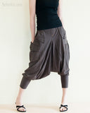 Cargo Capri 4/5 Length Pants Heavy Jersey Knit Cotton Low Crotch Harem Trousers Brown front