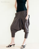 Cargo Capri 4/5 Length Pants Heavy Jersey Knit Cotton Low Crotch Harem Trousers Brown left