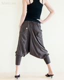 Cargo Capri 4/5 Length Pants Heavy Jersey Knit Cotton Low Crotch Harem Trousers Brown rear