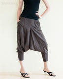 Cargo Capri 4/5 Length Pants Heavy Jersey Knit Cotton Low Crotch Harem Trousers Brown right