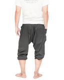 carpenter unisex artistic capri drop crotch jedi pants cuff leg flexible stretch jersey cotton yoga ninja shorts gray men back