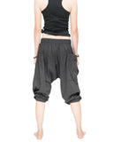 carpenter unisex artistic capri drop crotch jedi pants cuff leg flexible stretch jersey cotton yoga ninja shorts gray women back up