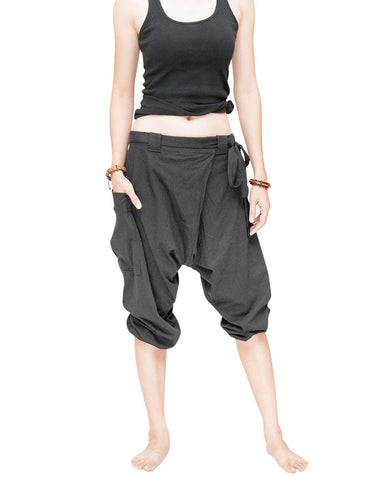 carpenter unisex artistic capri drop crotch jedi pants cuff leg flexible stretch jersey cotton yoga ninja shorts gray women front up