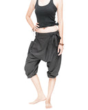 carpenter unisex artistic capri drop crotch jedi pants cuff leg flexible stretch jersey cotton yoga ninja shorts gray women relax
