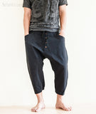 Casual 4/5 Length Cargo Unisex Capri Drop Crotch Pants Black front