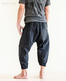 Casual 4/5 Length Cargo Unisex Capri Drop Crotch Pants Black rear1