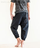 Casual 4/5 Length Cargo Unisex Capri Drop Crotch Pants Black rear2