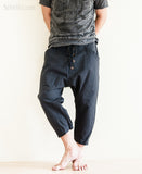 Casual 4/5 Length Cargo Unisex Capri Drop Crotch Pants Black relax
