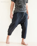 Casual 4/5 Length Cargo Unisex Capri Drop Crotch Pants Black walk