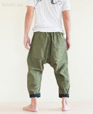 Casual 4/5 Length Cargo Unisex Capri Drop Crotch Pants Military Green back